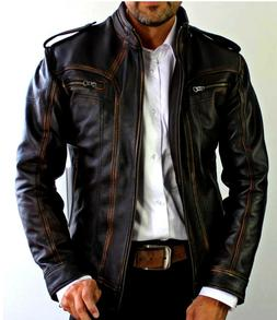 Mens Biker Motorcycle Vintage Cafe Racer Distressed Black Re