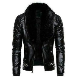 Mens Biker PU Leather Jacket Fleece Lined Detachable Fur Col