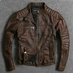 Men's Biker Vintage Cafe Racer Distressed Motorcycle Brown