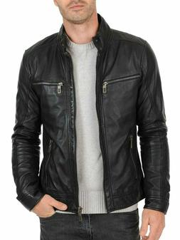 Laverapelle Mens Black Genuine Cowhide Leather Jacket - 1501