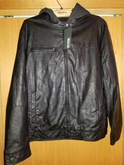 mens black hooded faux leather jacket size