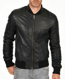 Mens Bomber Leather Jacket Varsity 100 % Real Sheep skin Lam