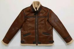 Aowofs Mens Brown Faux Leather Gamer Bomber Pilot Jacket Coa