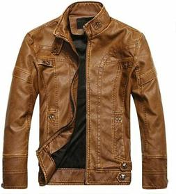 chouyatou Mens Winter Hooded Faux Leather Quilted Moto Biker Jacket