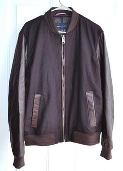 Tommy Hilfiger Mens Cascade Wool & Leather-Sleeve Bomber Jac