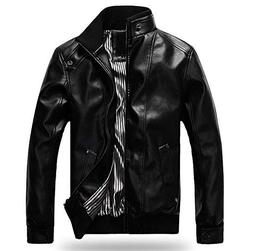 MODEOK Mens Causal Slim Fit Faux Leather Biker Coat Moto Jac