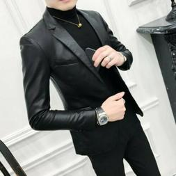 Mens Coats Blazer Faux Leather One Button Slim Fit Casual Sp