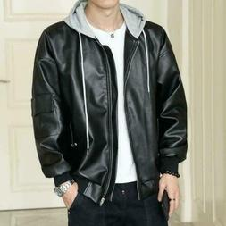 Mens Fashion Casual Hooded Faux Leather Jackets Loose Coats