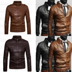 Mens Faux Leather Jackets Slim Biker Motorcycle Jacket Winte