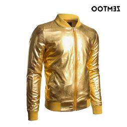 zemtoo Mens <font><b>Jacket</b></font> Nightclub Metallic Go