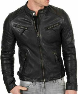 REAL CAFE RACER  BIKER JACKET 100 % REAL SHEEP LAMB SKIN SOF
