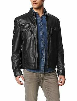 Kenneth Cole Reaction Mens Jacket Black Small S Faux Leather