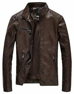 Youhan Mens Jacket Brown Size 2XL Faux-Leather Slim Full-Zip