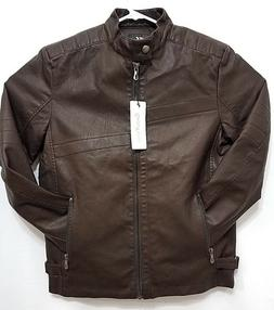Chouyatou Mens Jacket Coffee Brown Vintage Stand Collar Faux