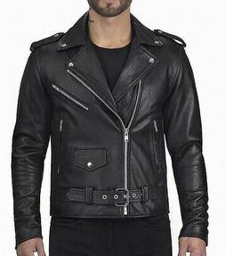AOWOFS Mens Jacket Solid Black Size Large L Motorcycle Faux-