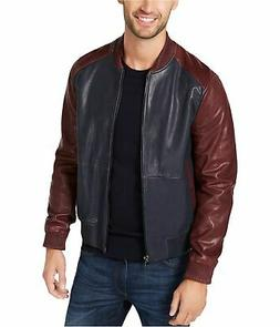 Michael Kors Mens Leather Bomber Jacket, Blue, Small