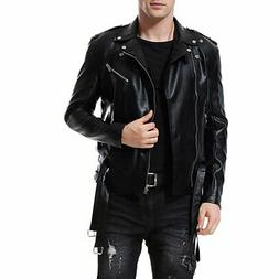 Aowofs Mens Jacket Black Size 2XL Lightweight Faux Leather M