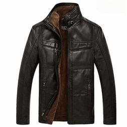 Mens Leather Jacket PU Coat Outerwear Fleece Faux Sweater fo