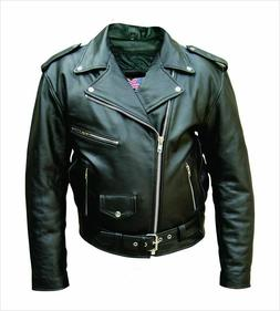 Mens Leather Motorcycle Biker Scooter Racing Belted Premium