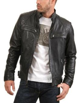 Mens Leather Motorcycle Jacket Soft Genuine Lambskin Men's j