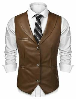 COOFANDY Mens Leather Vest Slim Fit Sleeveless Jacket Casual