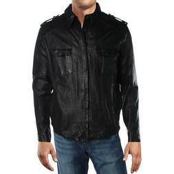 Kenneth Cole New York Mens Leather Winter Coat Bomber Jacket