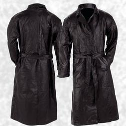 Mens Long Black Leather Button Front Trench Over Coat Full L