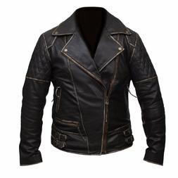 Mens Marlon Brando Biker Motorcycle Vintage Distressed Brown