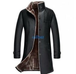 Mens Mid Long Trench Coats Leather Winter Warm Fur Lined Jac