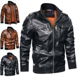 Mens Motorcycle Biker Jacket Long Sleeve Plain Coat Leather