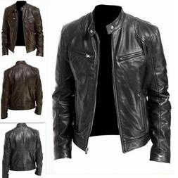 Mens Motorcycle Broadcloth Leather Jacket Coat Stand Collar