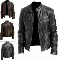 Mens Motorcycle Broadcloth Leather Jacket Stand Collar Faux