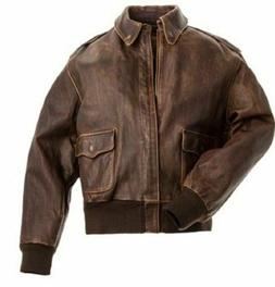 Aviator A-2 Flight A2 Jacket Distressed Brown Genuine Real Leather Bomber Jacket