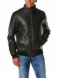 Tommy Hilfiger Mens Outerwear Faux Leather Stand Collar- Sel