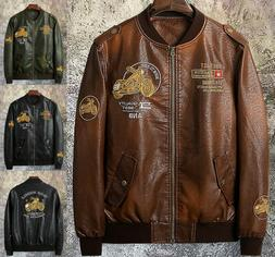 Mens Outerwear Motorcycle Leather Baseball Ride Jacket Biker