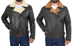 Mens Real Sheepskin Flying Jacket X-Zip Fitted Shearling Avi