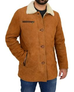 Mens Real Sheepskin Jacket Cognac Designer Shearling 3/4 Lon