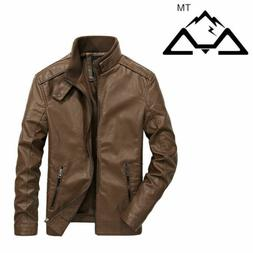 Mens Slim Fit Leather Jackets Biker Jacket Fashion Motorcycl