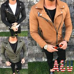 mens slim fit leather jackets biker jacket
