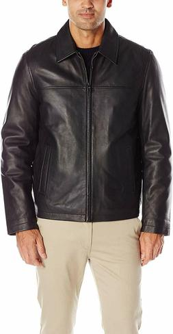 Tommy Hilfiger Mens Smooth Lamb Leather Laydown Collar Open