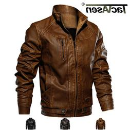 TACVASEN Mens Tactical PU Leather Jacket Bomber Motorcycle B