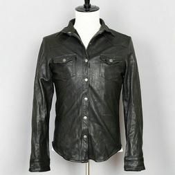 Mens Vintage Black Leather Shirt Jacket Casual Coat