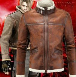 Mens Winter Casual Leather Jacket Stand Collar aowofs Clothe