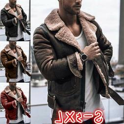 Mens Winter Leather Jacket Warm Cashmere Jackets Outdoor Coa