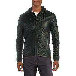 Cole Haan Mens Winter Leather Stand Collar Moto Coat Outerwe