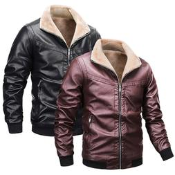 Mens Winter Warmer Leather Jackets Fleece Thicken Motorcycle