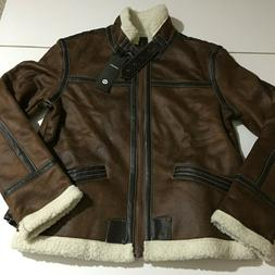 Aowofs Mens XS Brown Faux Leather Gamer Bomber Pilot Jacket