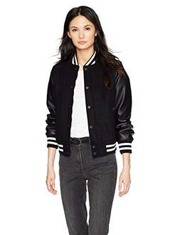 Levi's Women's Mixed Media Bomber Jacket, New Navy/Black, Sm