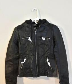 Made By Johnny Moto Jacket Wjc663 Faux Leather Womens XS det