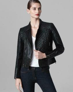 Michael Kors Motorcycle Jacket Leather Black Quilted Moto As